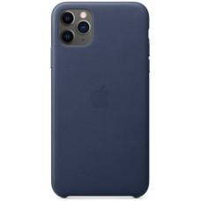 Чехол кожаный для Apple iPhone 11 Pro Max Leather Case - Темно-синий