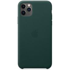 Чехол кожаный для Apple iPhone 11 Pro Max Leather Case - Темно-зеленый