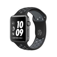 Силиконовый спортивный ремешок для Apple Watch (черный/серый) 38/40 мм.