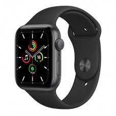 Apple Watch SE, 40 мм, корпус из алюминия цвета «серый космос» (MYDP2RU/A), спортивный ремешок чёрного цвета