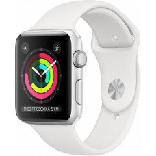 Apple Watch Series 3 42mm MTF22RU/A (Silver Aluminum Case with White Sport Band/ Серебристый Белый)