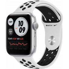 Apple Watch Nike Series 6, 40 мм, корпус из алюминия серебристого цвета, спортивный ремешок Nike цвета «чистая платина/чёрный» (MG293RU-A)